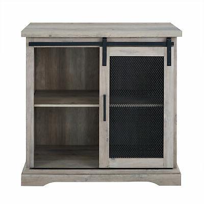 Corner Media Console Cabinet Sliding Barn Door