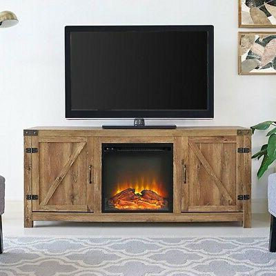 Corner TV Stand With Fireplace Oak Rustic Electric Heater Wo