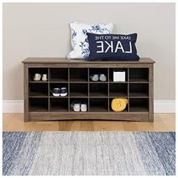 Prepac Shoe Cubby Bench, Drifted Gray