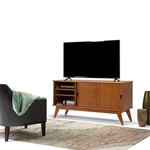 Simpli 3AXCDRP-08-TK Draper Solid Hardwood Mid Medium Media Stand in TVs 66