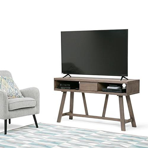 Simpli Solid Wood TV Stand in Driftwood TVs upto