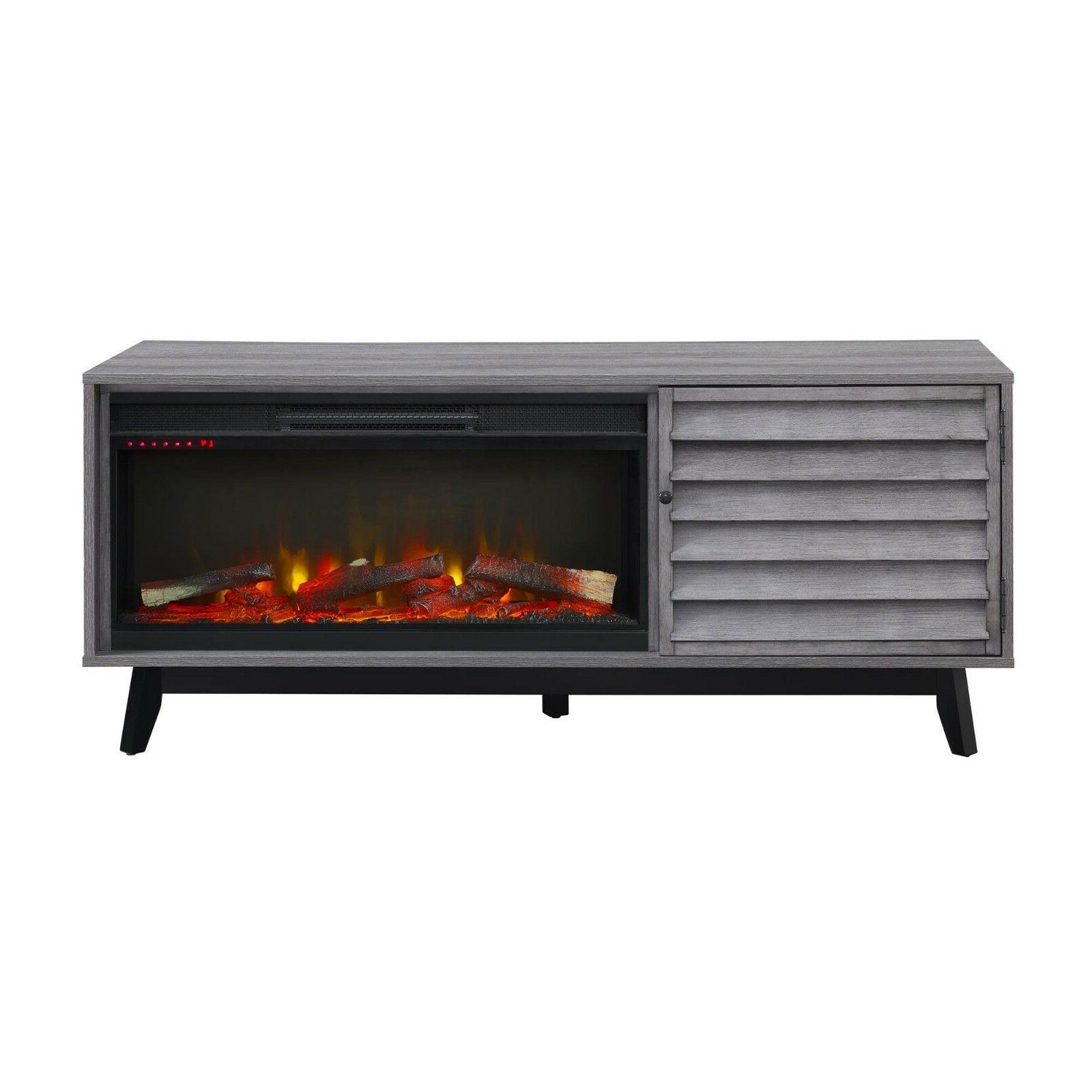 Electric Fireplace Gray Flames Contemporary