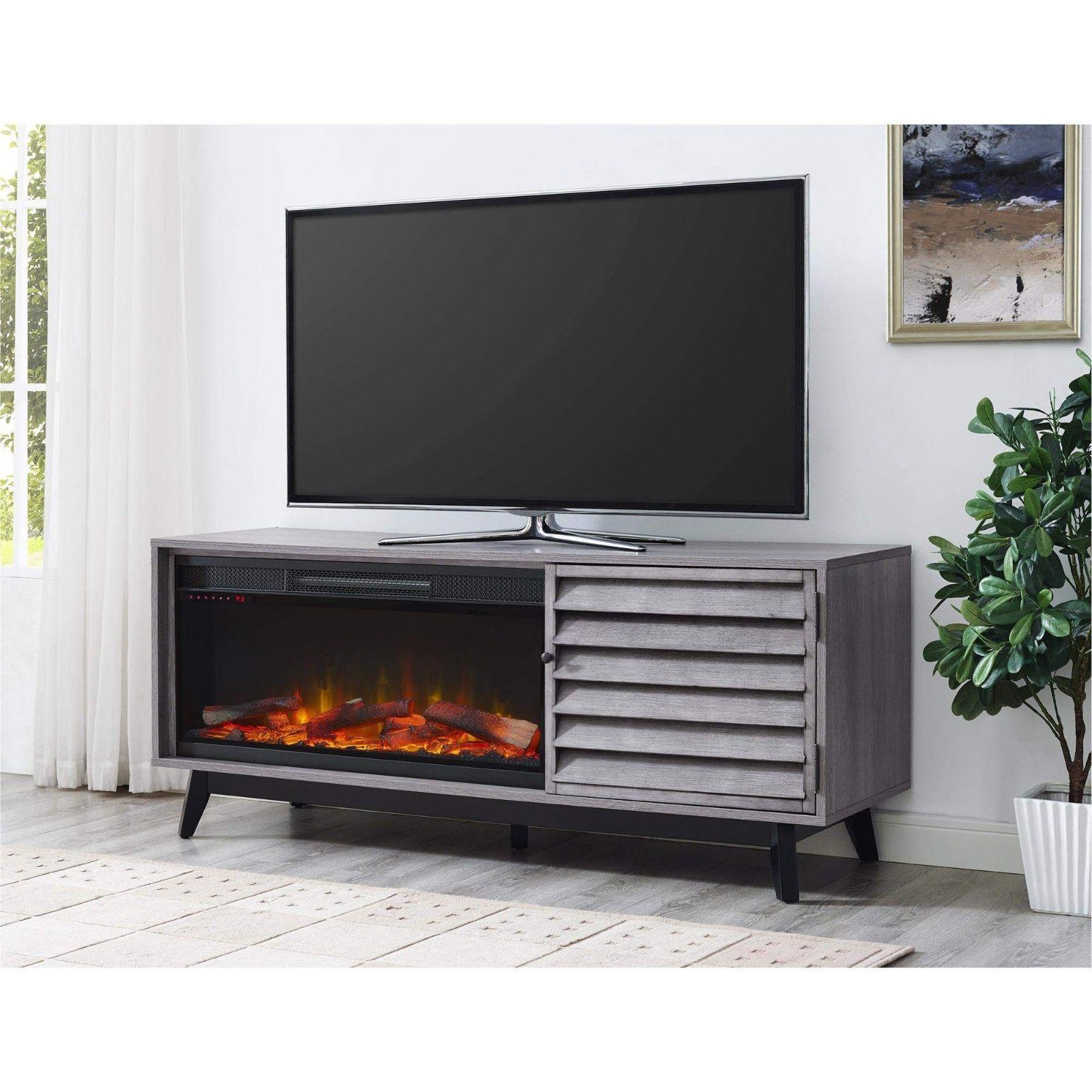 electric fireplace tv stand gray entertainment center