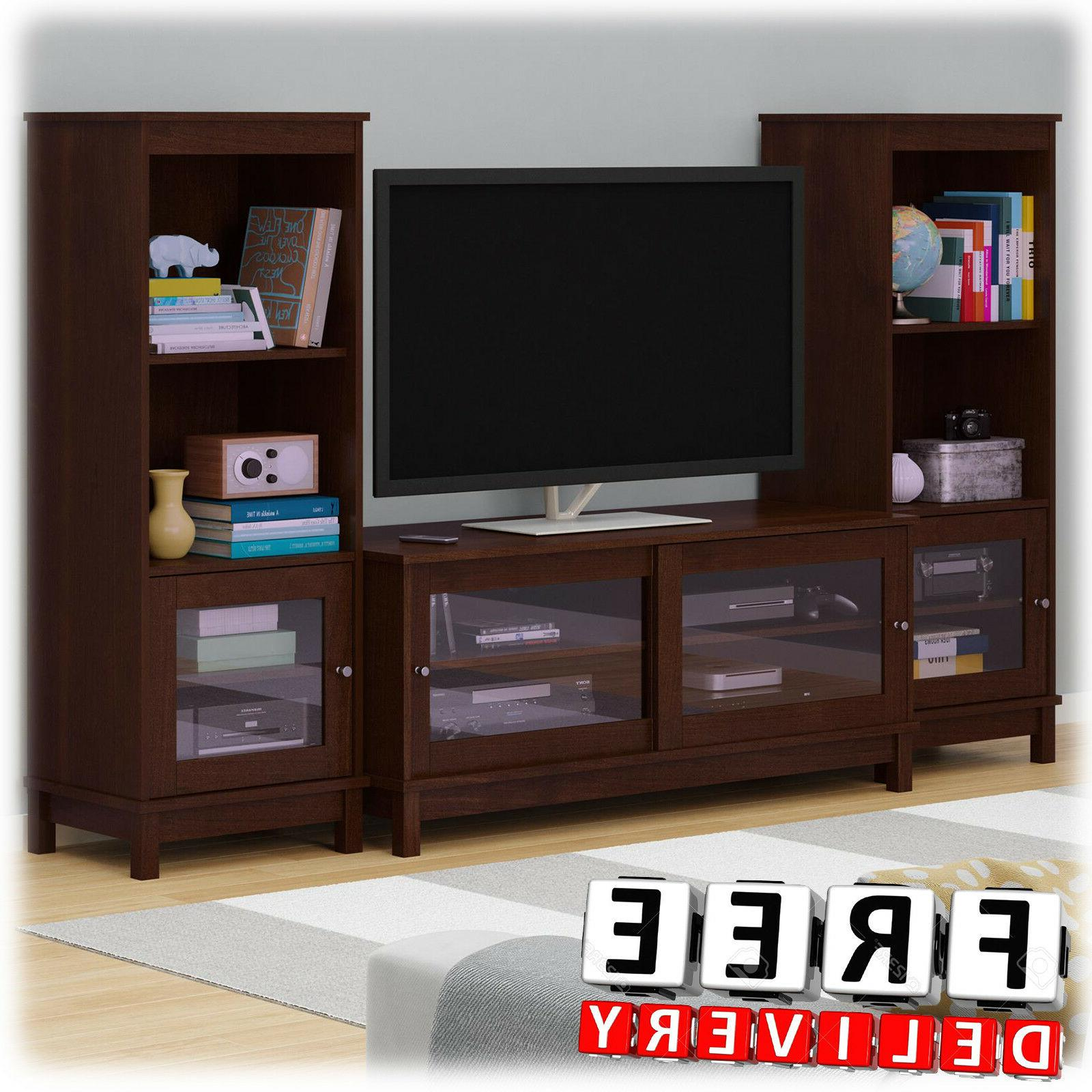 entertainment center tv media cabinet wood shelf