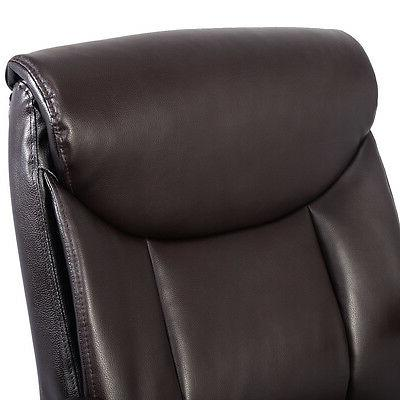 Costway PU Leather Mid-Back Executive Desk Task Office Chair Brown