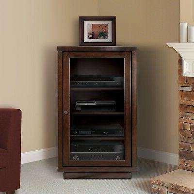 Espresso Cabinet Audio Electronics Stand Stereo Shelves