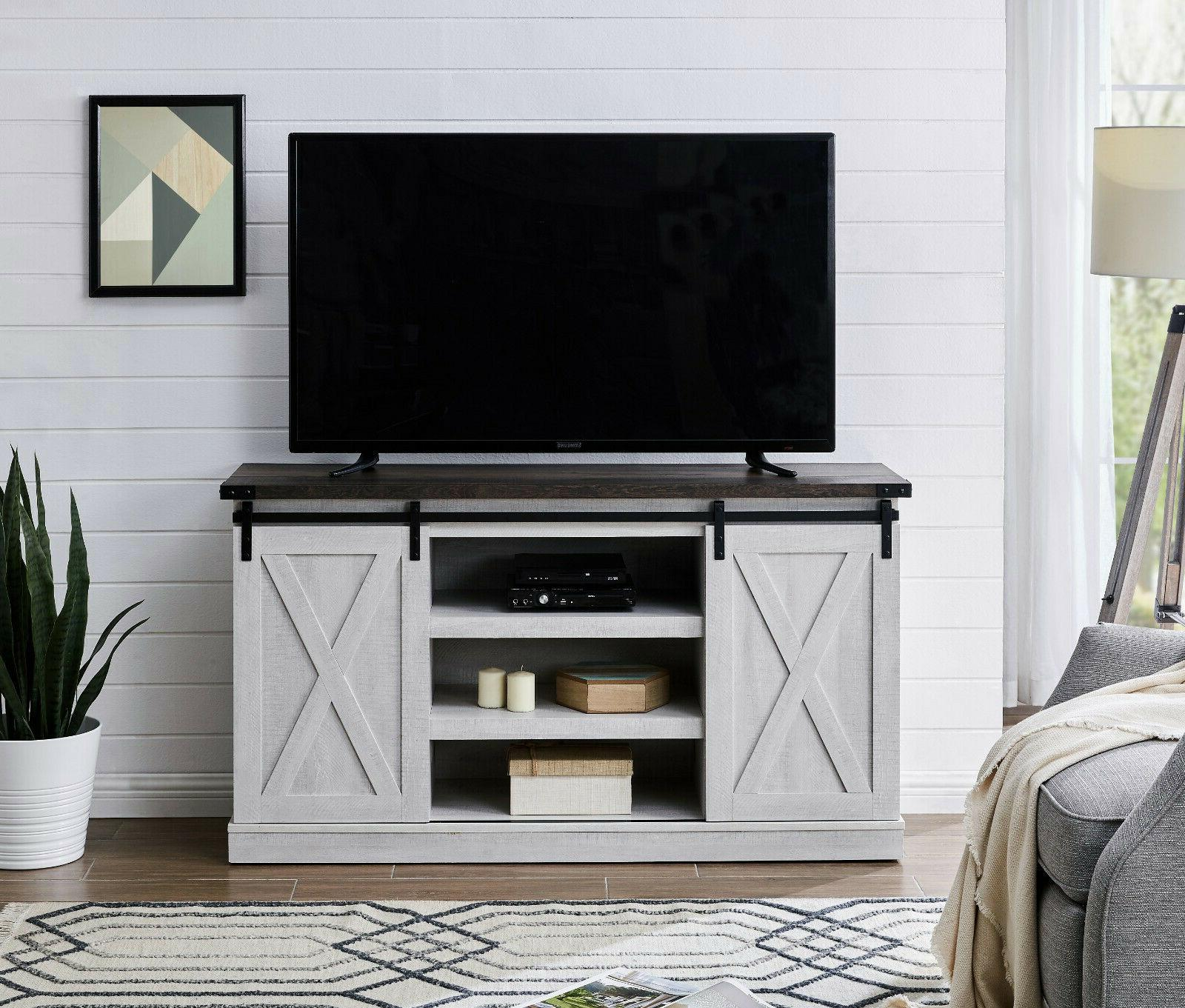 Rustic Farmhouse Sliding Barn Door TV Stand Console Table St