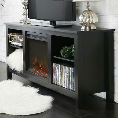 Walker Edison Essential 58 Wood TV Stand w/Fireplace Black
