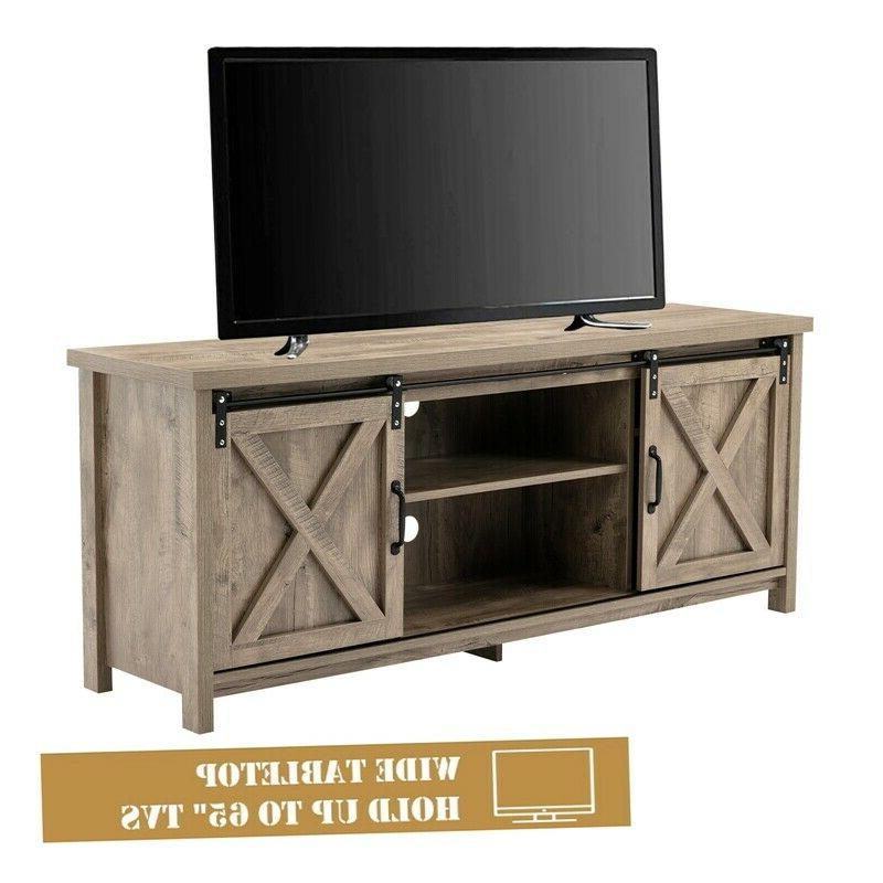 Farmhouse Sliding Barn Door TV Stand in Entertainment Cabinet