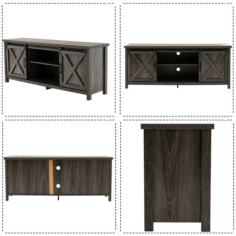 Farmhouse Barn Door TV Stand for in TV Entertainment Cabinet