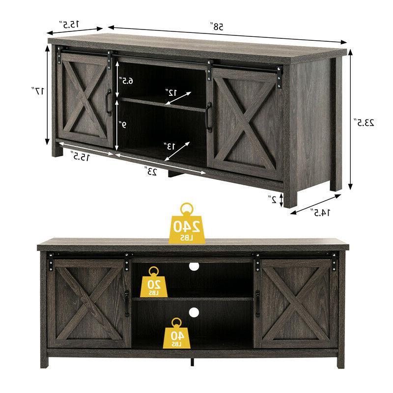 Farmhouse Sliding Door TV Stand in TV Center Cabinet