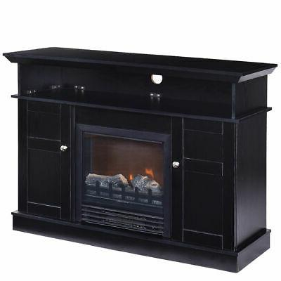 Fireplace TV Stand Storage Media Heater to