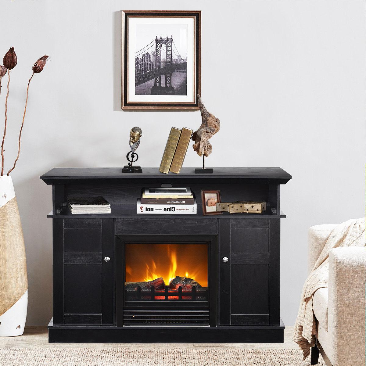 Fireplace TV Storage Console Heater to