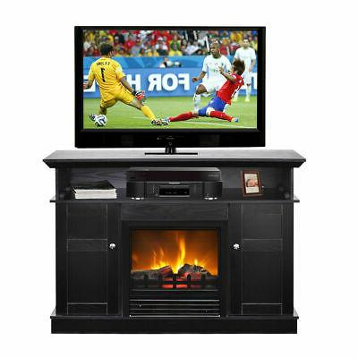 fireplace tv stand wood storage media console