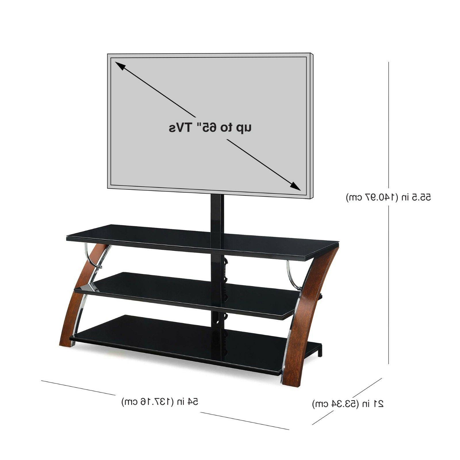 """Whalen Payton Brown Wood in Flat Stand TVs 65"""""""