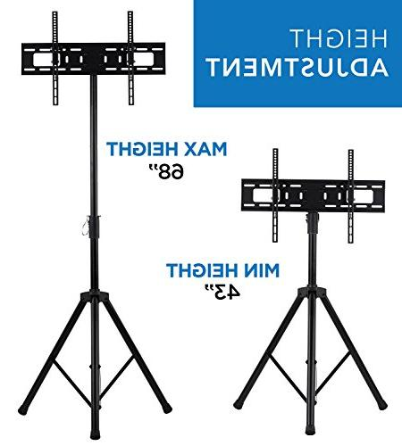 Mount-It! LCD TV Stand Fits LCD LED Flat Screen 32-70 Adjustable Height Pole, Supports 77 600x400 Black,