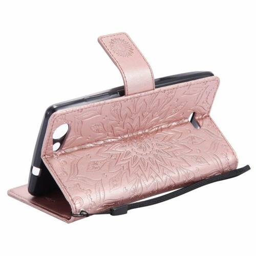 Flip Wallet w/Strap Flower Card Cover For Asus Phones