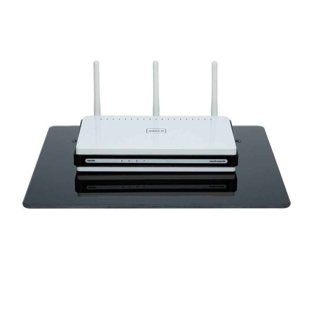 Floating Glass Shelf Wall Mount TV AV Stand DVR PS XBOX