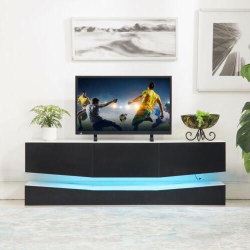 "63"" Gloss White TV Cabinet Furniture Shelves Drawers"