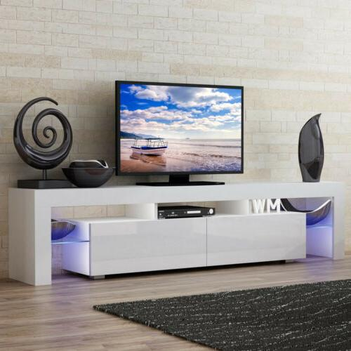 "63"" Modern TV Stand Cabinet Furniture Console White w/ LED S"