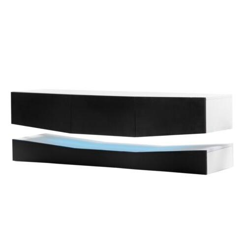 """63"""" High Gloss TV Stand Cabinet Furniture w/LED Shelves Drawers"""