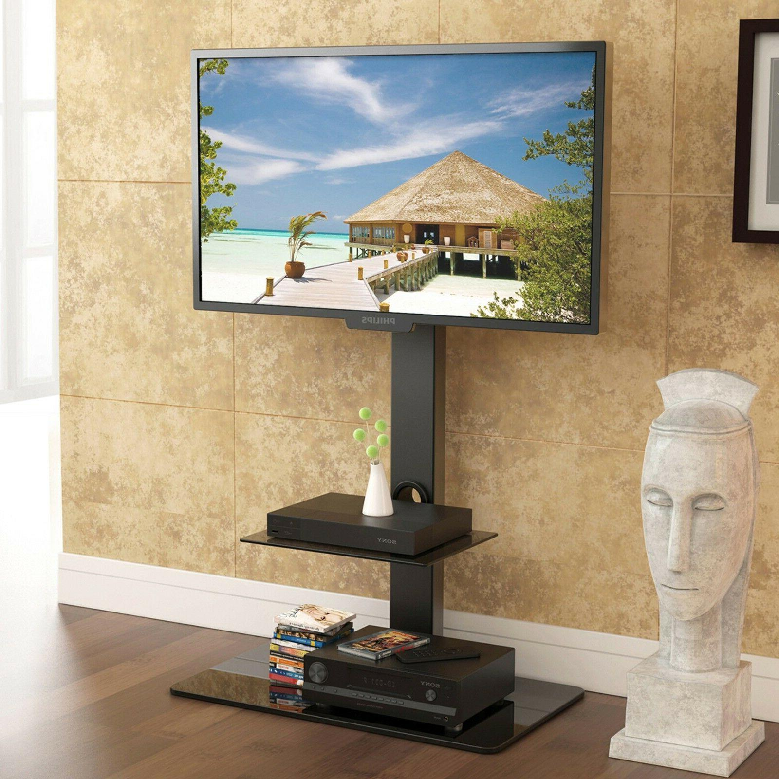 Floor TV Stand with Swivel Mount Component Shelf for 32-65""