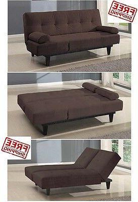 Futon Sofa Lounger Brown Microfiber Loveseat