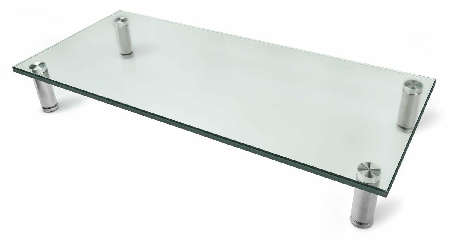 Glass and Aluminum LCD LED TV Stand, Computer Monitor Riser