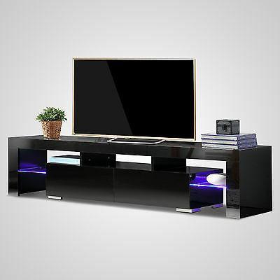 High Gloss Black TV Shelves 2 Drawers Furniture