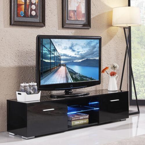63'' High Gloss Shelves TV Stand Cabinet 2 Furniture