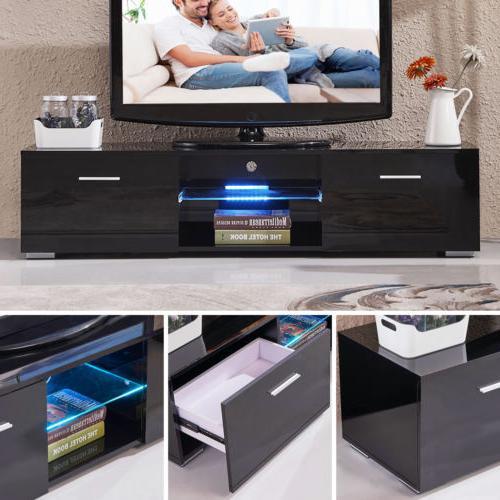 63'' High Gloss LED Shelves TV Cabinet 2 Furniture