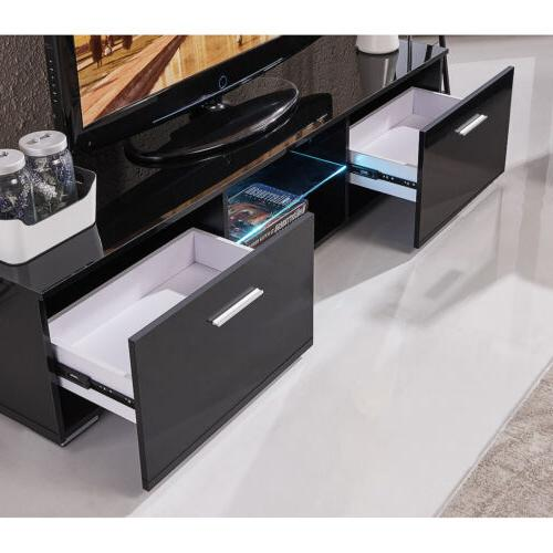 High Gloss Black Shelves Cabinet w/2 Drawers Console Furniture