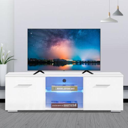 High Gloss TV Stand Unit Cabinet w/LED Shelves 2 Drawers Con