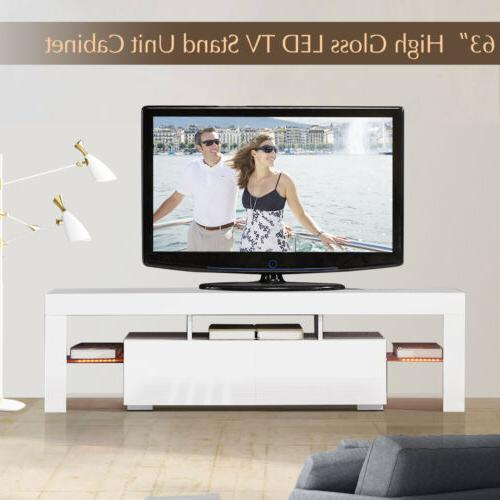 High TV with Light 2 Drawers Console