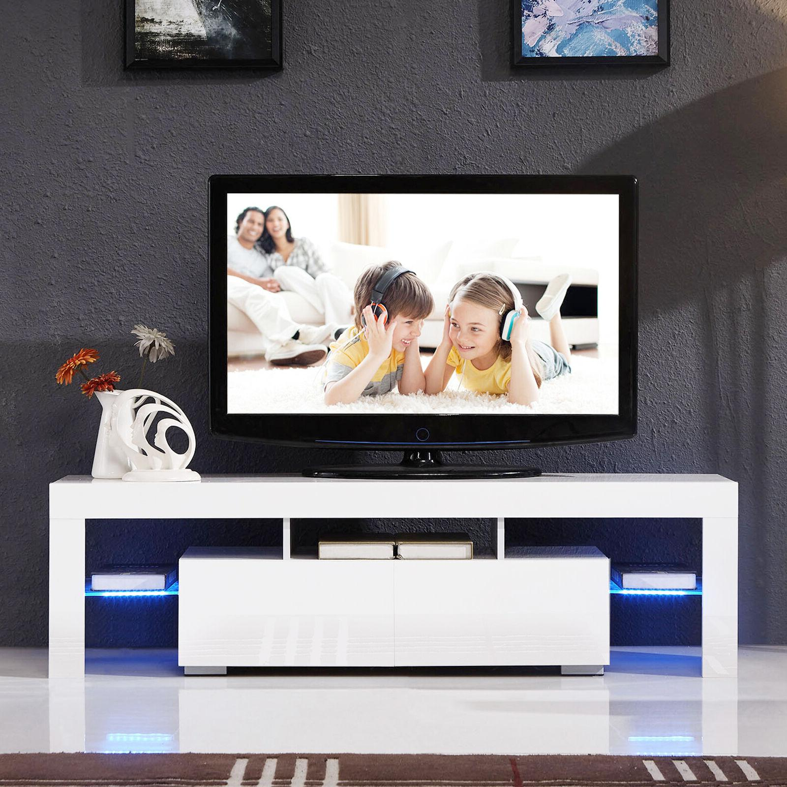 """Modern 63"""" Stand Unit Cabinet LED Light 2 Drawers Console Table"""