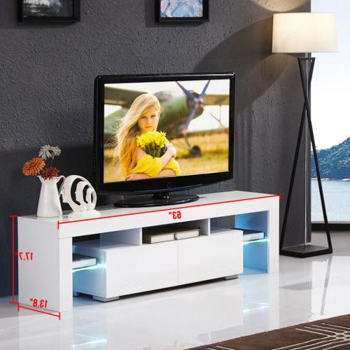 High White TV with LED Drawers Console