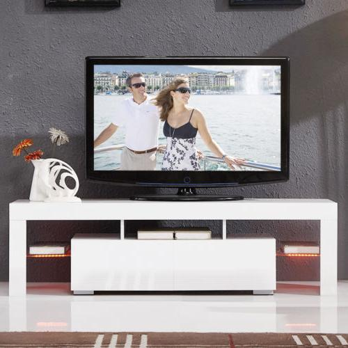 High Gloss White 63'' with Light Drawers Console RC