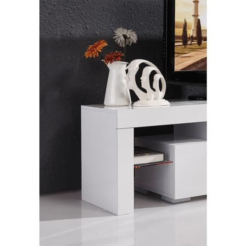 High White TV Stand with LED 2 Drawers Console