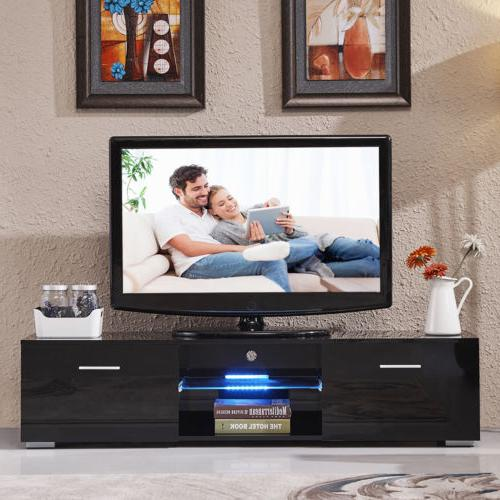 63'' Black TV Furniture 2 Shelves