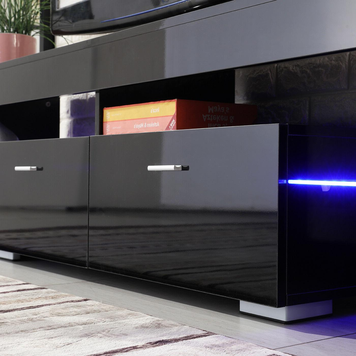 High Gloss TV Stand Unit Furniture w/LED Drawers