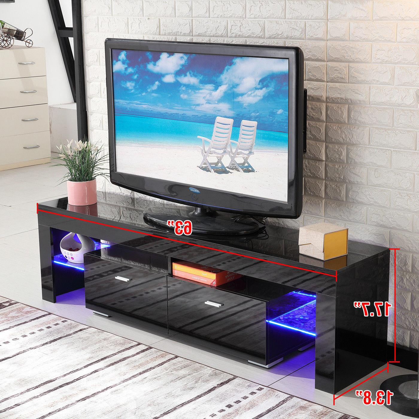 High TV Stand Unit Furniture w/LED Shelves Drawers