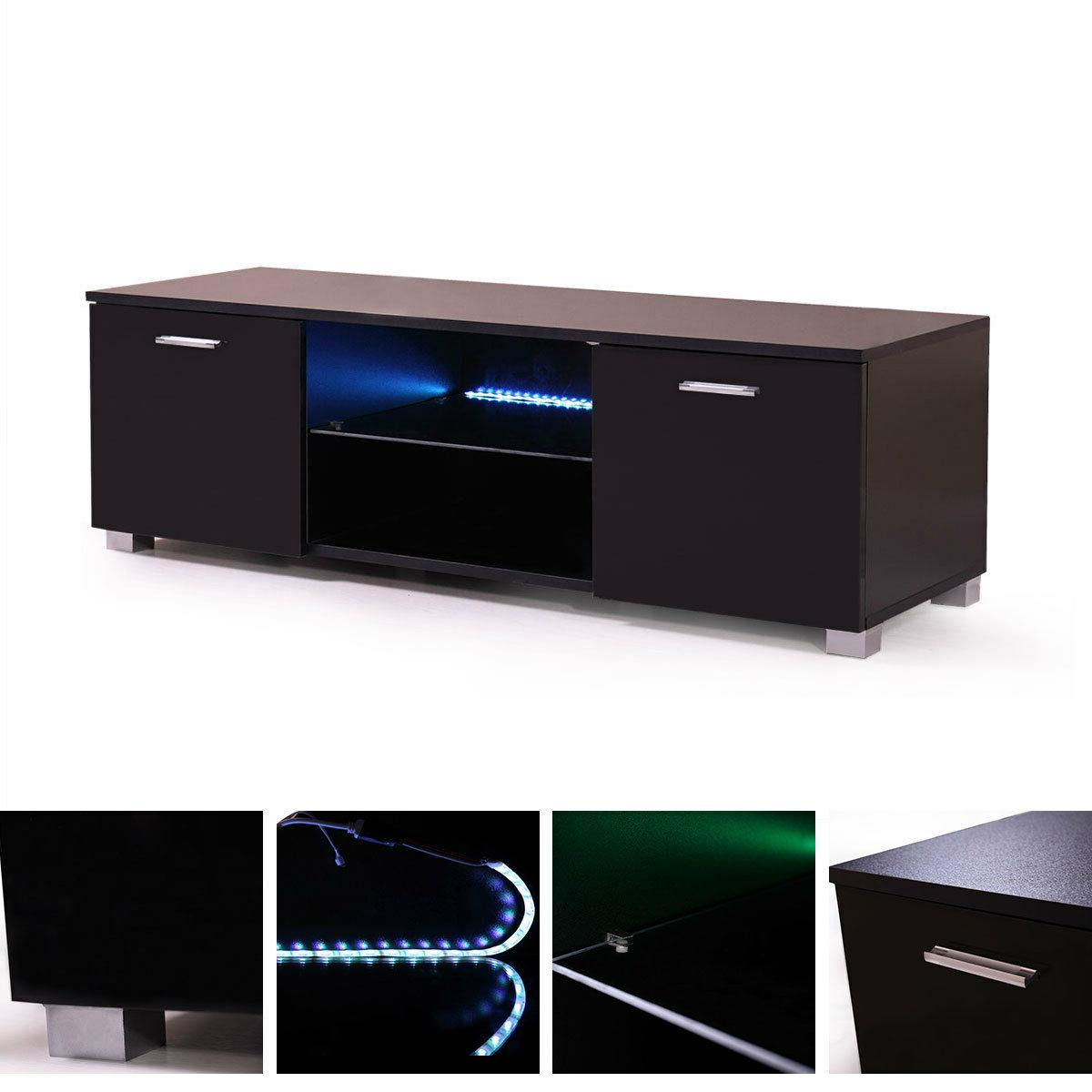 Cabinet LED Shelve White/Black Drawer Console