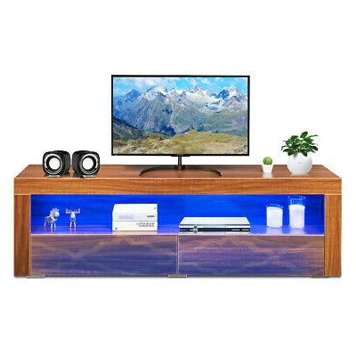 High TV Media w/LED Lights & Drawers TV Walnut
