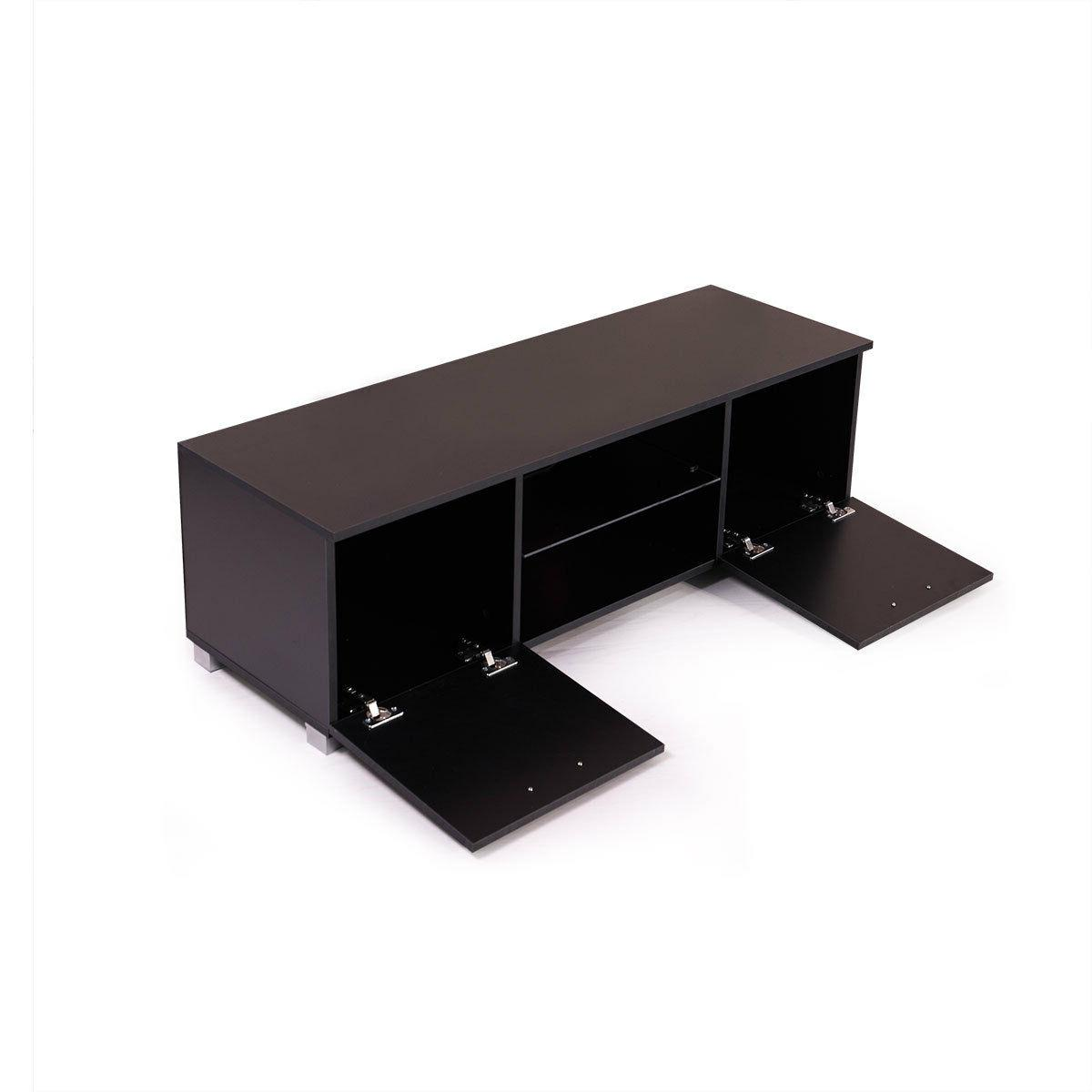 High Gloss TV Stand Unit with Light Shelves Drawers Console Black