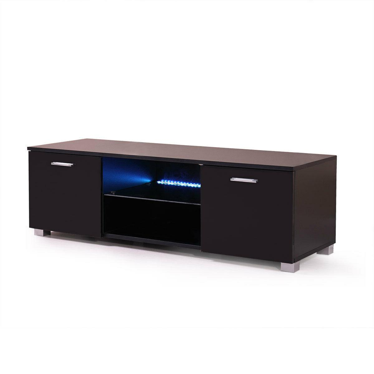 High Gloss Unit Cabinet with Light Console Black