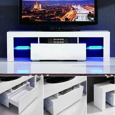 High TV Unit Cabinet with LED Lights Shelves Furniture