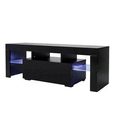High TV Unit Cabinet with Lights Shelves Room Furniture