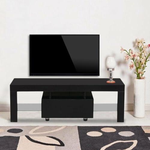 High Unit Cabinet Furniture w/LED 1 Drawers Black