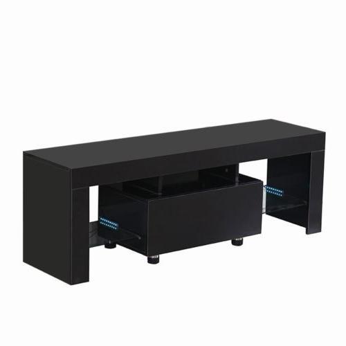 High Gloss Unit w/LED Shelves Black