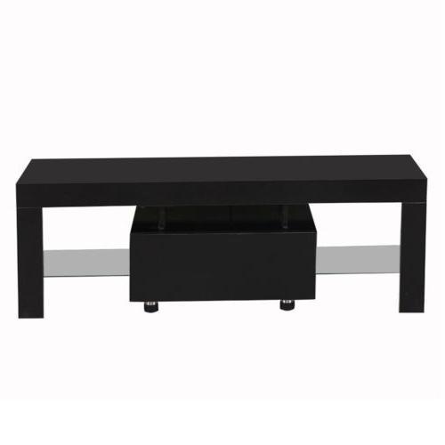 High Gloss TV Unit Console w/LED Shelves 1 Black